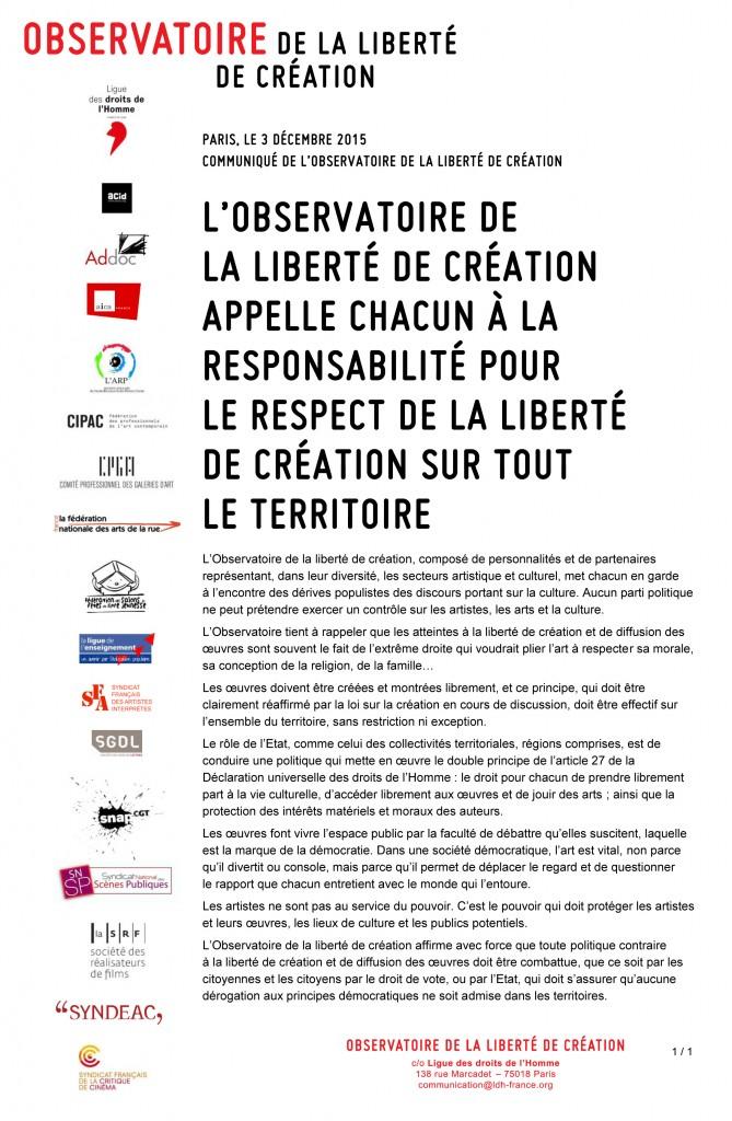 Communique Observatoirelections03122015