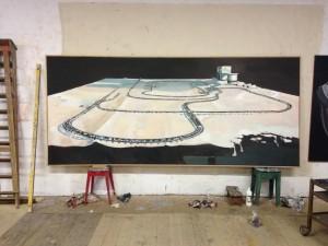 MARC-ANTOINE FEHR, Le train de Loïc, 2017, huile sur toile, 160 x 350 cm (vue d'atelier)