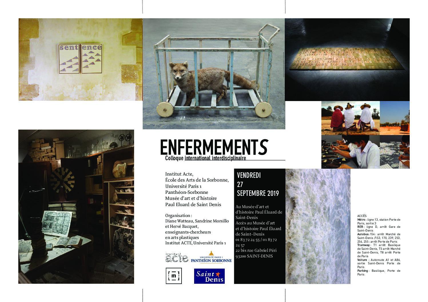 colloque Enfermements, musée d'art et d'histoire de Saint Denis, vendredi 27 octobre , programme
