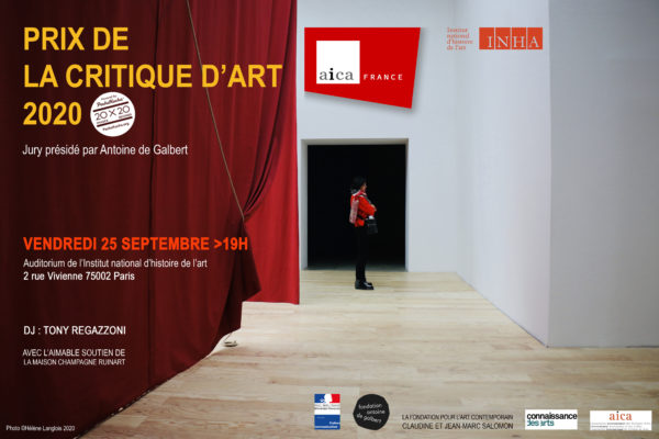 PRIX AICA FRANCE DE LA CRITIQUE D'ART 2020*