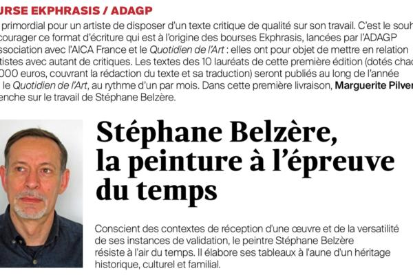 Ekphrasis : le texte de Marguerite Pilven sur le travail de Stéphane Belzère