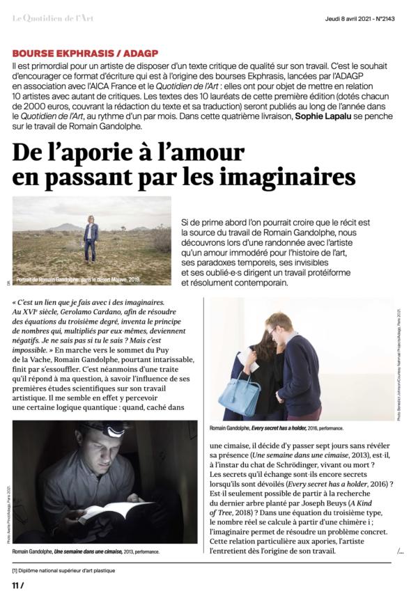 Bourse EKPHRASIS :  découvrez le texte de Sophie Lapalu sur le travail de Romain Gandolphe