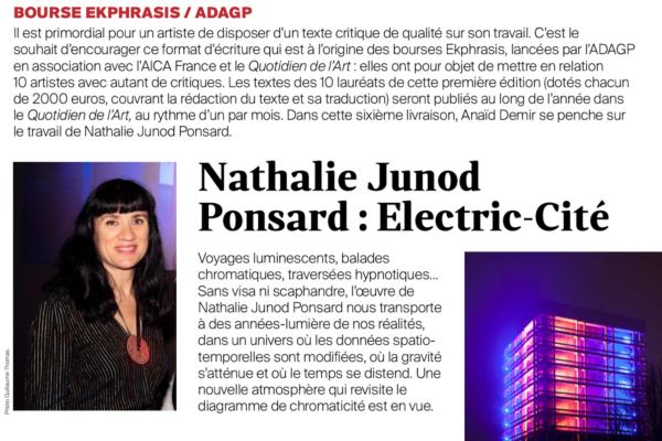 Bourse EKPHRASIS :  découvrez le texte d'Anaïd Demir sur le travail de Nathalie Junot Ponsard