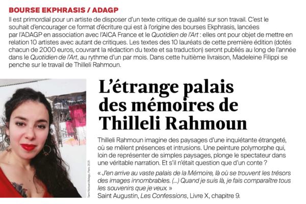 Bourse EKPHRASIS :  découvrez le texte de Madeleine FILIPPI sur le travail de Thilleli RAHMOUN