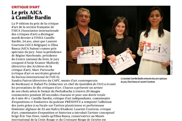 Prix AICA France de la Critique d'Art 2021 — Le texte de la lauréate