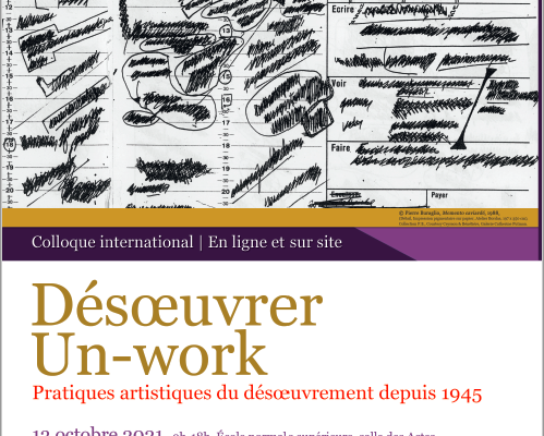 Colloque international 'Désoeuvrer / Un-work' 13 – 15 octobre 2021